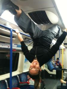 London 2012! Upside-down tube splits! Photo is blurry as this was a moving train!